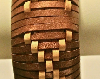 Leather Bangle Woven in a Spaced X Pattern