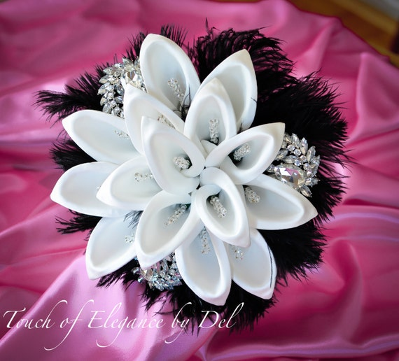 """11"""" Diamonds in the sky Bridal Brooch Bouquet - Calla Lilies, Ostrich Feathers and Bling + FREE Groom Boutonniere"""
