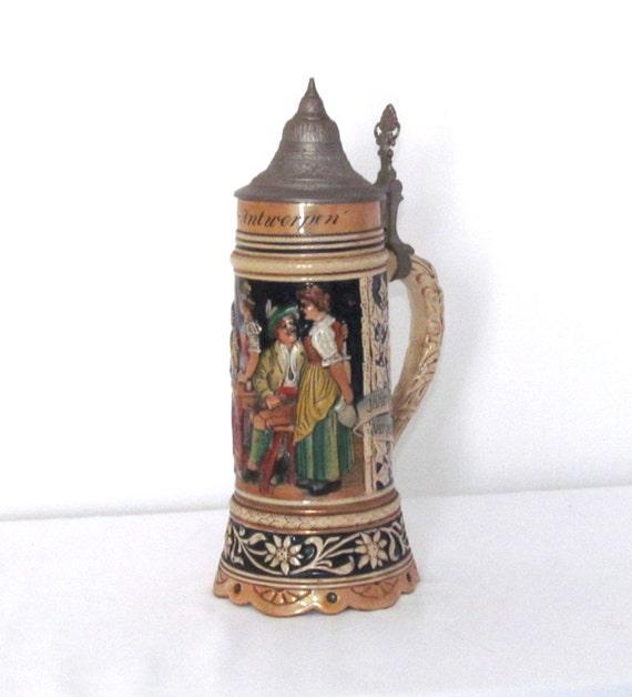 1960s Vintage Musical Ceramic German Beer Stein Mug Pewter