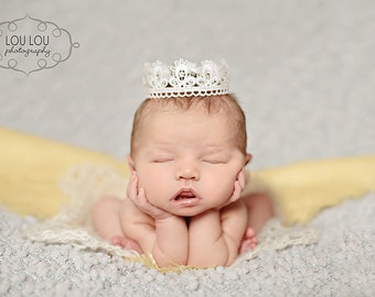 Newborn Lace Crown Photography Prop with Swarovski Crystals