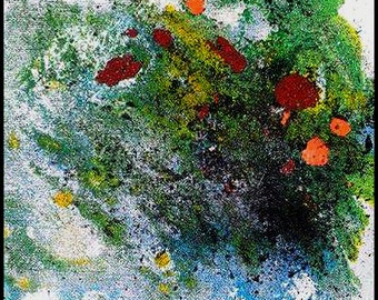 Original Painting - Abstract Painting with Blue, Green, Yellow, White, Black & Red by David Lawter
