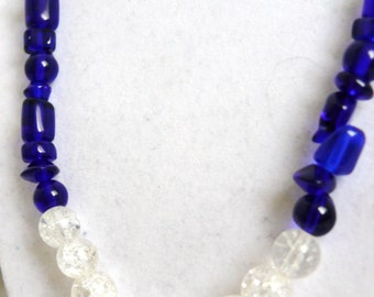 Royal Blue Glass Beaded Jewelry Set