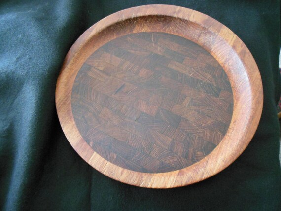 Vintage Dansk Large Round Wooden Teak Cutting Board Carving