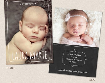 Birth Announcement Template - Chalkboard Frames CB001 - for Photographers PSD frame