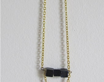 Dark Cloud Necklace - geometric necklace on gold chain, neon floral triangle charm, tiny block beads