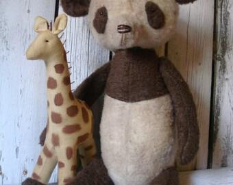 Primitive Panda Bear with His Giraffe