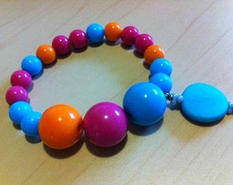 Girls Jewelry Stretch Bracelet Colourful Kaleidoscope Resin
