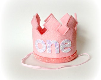 First Birthday Crown Pink Crown Headband LARGE - One Year Old Birthday Headband