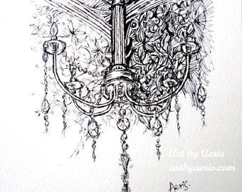 Elegant Chandelier Ink Pen Art Print, Crystal, Glass, Sparkling, Elegant, Note card, Gift idea, Wall Art, Collection, Ink Pen Illustration,