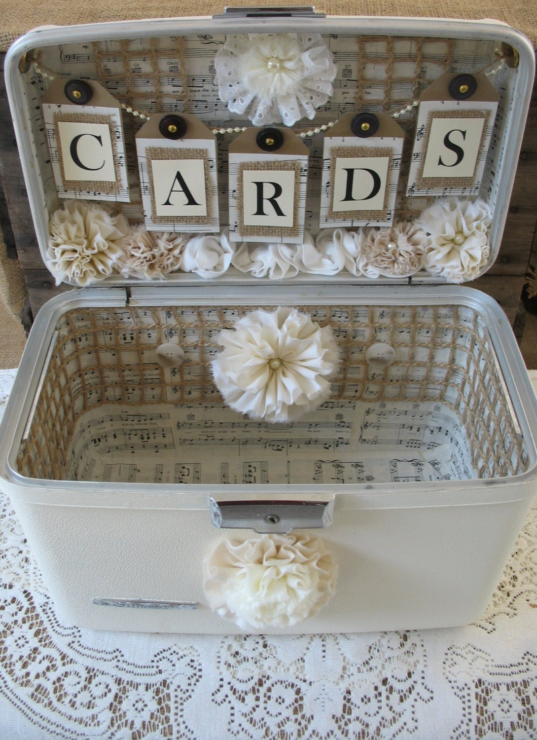 Vintage Wedding Gift Card Holder : Vintage Suitcase Wedding Card Box Wedding by TheShabbyChicWedding