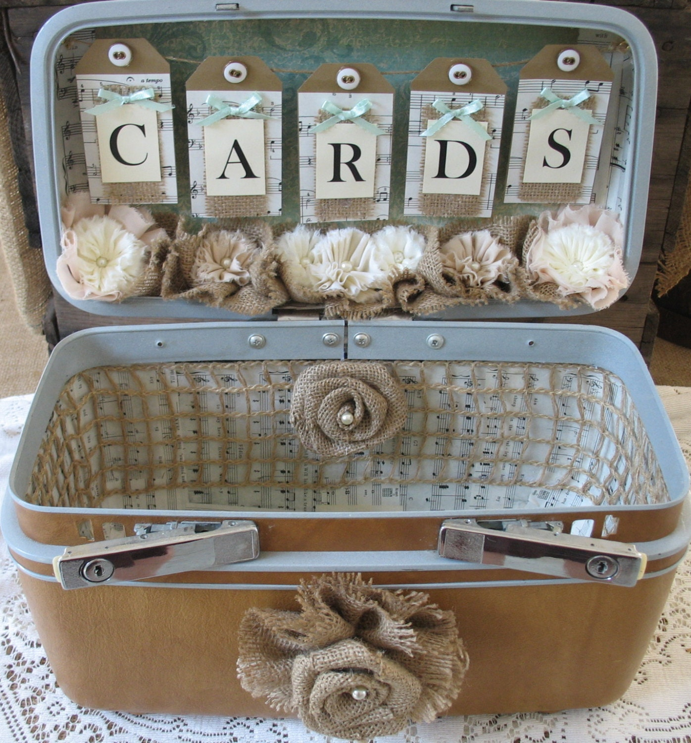 SALE Vintage Suitcase Wedding Card Box Wedding Card Holder