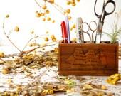 Vintage Pencil Holder // Wooden // Sailing Ship