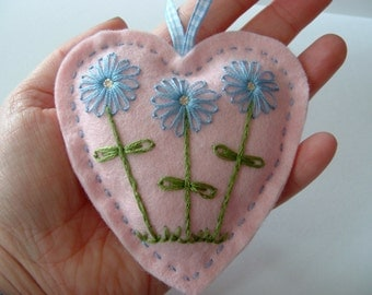 Pink Felt Heart Hanger with Hand Embroidered Flowers