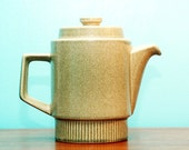 Vintage Pfaltzgraff Green Stoneware Coffee Pot Mid-Century Modern Studio Art Pottery Eames Era Deco 1950s 1960s