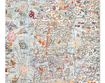 Fabric medieval vintage style detailed Map