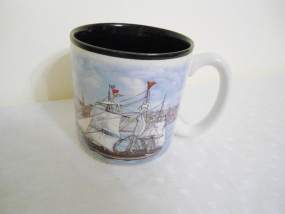 Vintage Coffee Cup Sailboat 1993 Flowers Inc Balloons Made in Korea