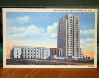 Vintage Postcard, State Capitol, Bismark, North Dakota 1940s Linen Paper Ephemera