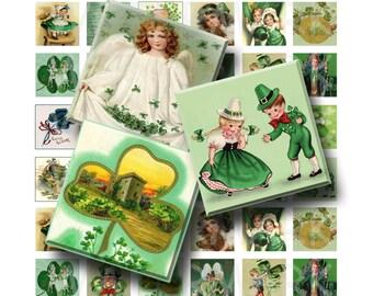 Vintage St Patricks Day - Digital Collage Sheet  - 1 inch (1 x 1)  - INSTANT DOWNLOAD