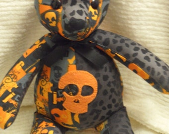 Orange and Gray Skull Teddy Bear