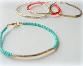 Red, Turquoise ,Crystal or Bronze one gold filed bracelet  - friendship bracelet,Graduation Gifts,Thin and delicate,Beadwork