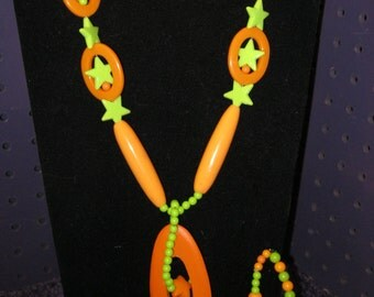 LIME GREEN and ORANGE Stars, Ovals, Balls and Assorted Shaped Donuts Jewelry Set