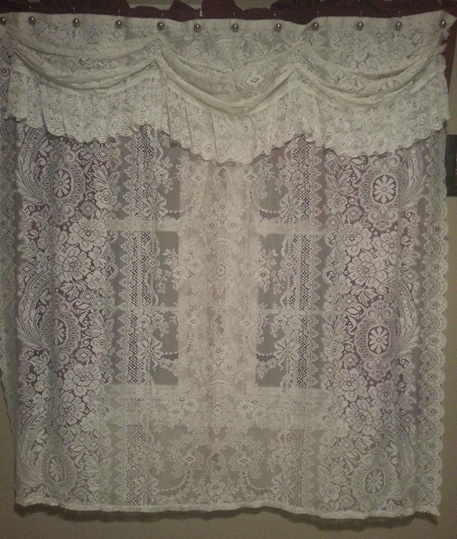 vintage white lace shower curtain by ladybugzgemz on etsy