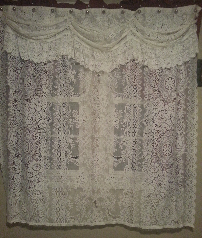 vintage white lace shower curtain by ladybugzgemz on etsy. Black Bedroom Furniture Sets. Home Design Ideas