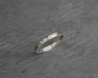 Silver Wedding Band // Hammered Sterling Silver Wedding Ring // 2mm width //  eco friendly recycled silver ring // gift for her