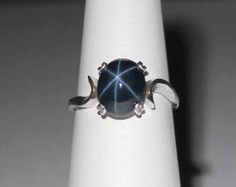 Genuine 3-ct 6-Ray Blue Star Sapphire Sterling Silver Ring