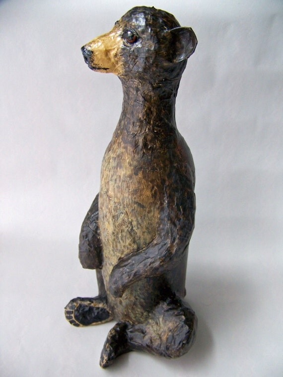 bear sculpture made from paper mache and wine bottle. Black Bedroom Furniture Sets. Home Design Ideas