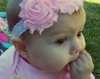 Pink Flower Headbands, Valentines Day Headband, Shabby Headbands, Baby Headbands, Infant Headbands, Newborn Headbands, Girls Headbands