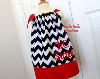 N.C. State Wolfpack Black/White/Red Chevron Pillowcase Dress