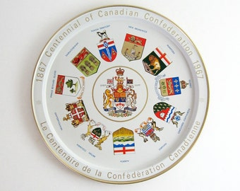 Vintage Metal Tray - Round Serving Tray - Canada Centennial Souvenir - Canadian Coat of Arms Mid Century Modern Home Decor Red & White Tray