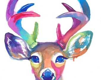 Colorful Deer Art Print - Antlers - Gift - Abstract Painting