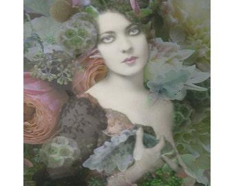 Flower 1920 s art deco, vintage goddess, digital print, photomontage, digital art, modern art, flapper, fine art, portrait with flowers
