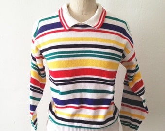 80s Primary Colored Striped Sweater