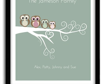 Personalized Family Tree With Owls Family Owls Nursery