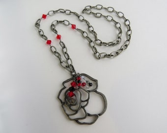 Red Rose Charm Necklace with Swarovski Crystals - READY TO SHIP - Red and Silver Handmade Jewelry - Rose Necklace