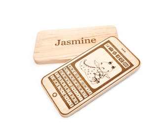 Personalized Phone Toy - Wooden Toy - Wood Teething Toy - Eco Friendly Smart Phone Toy - Pretend Play for Babies, Toddlers, and Preschoolers