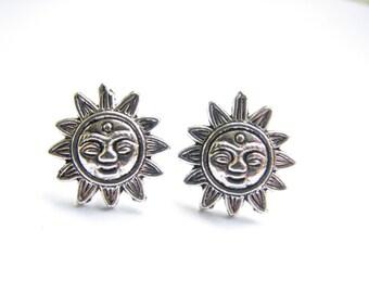 Sun Face Stud Earrings, Silver Sun Jewelry