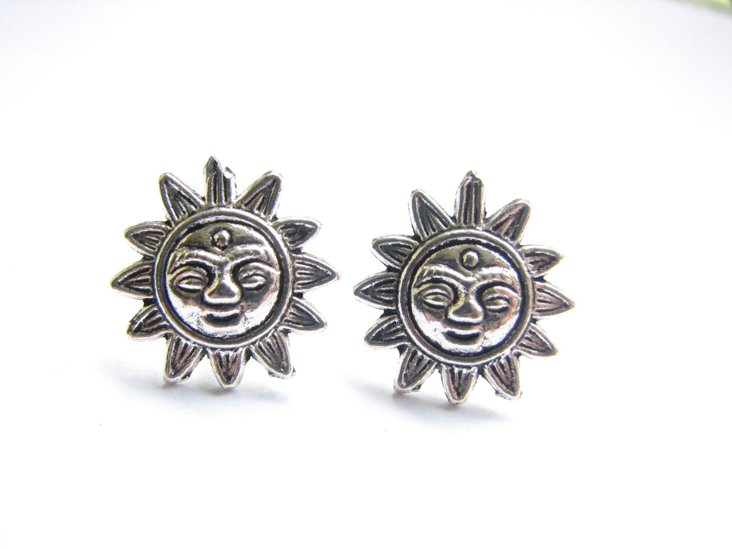 sun stud earrings silver sun jewelry