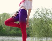 Yoga Pants Red Purple Hand Dip Dyed Leggings
