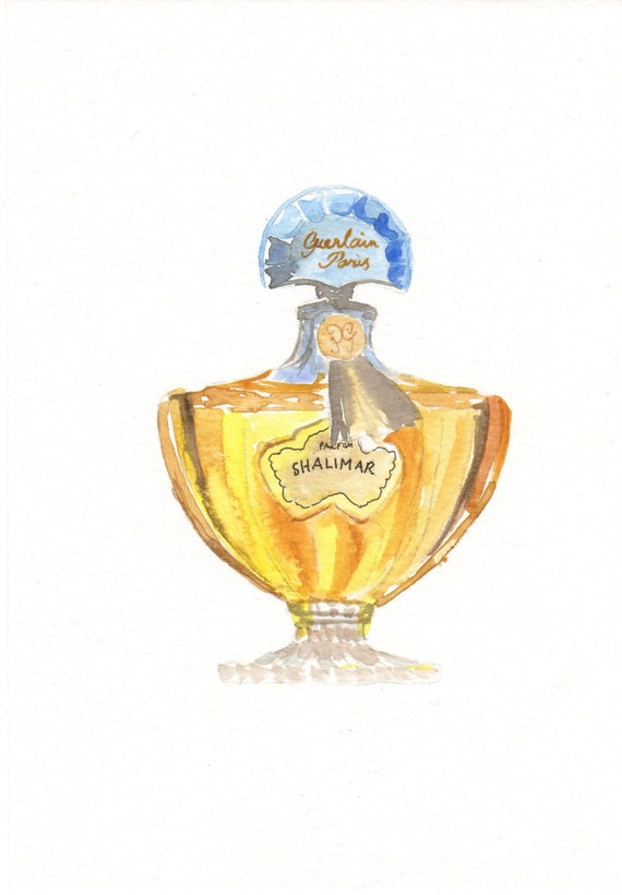 Guerlain Shalimar Parfum Fragrance Watercolor Perfume Bottle