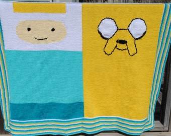 Adventure Time Knit Blanket with Finn and Jake
