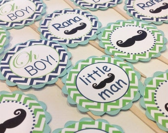 12 Mustache Bash Little Man Cupcake Toppers - Apple Green and Navy Blue Chevron Aqua Cardstock - Party Packs Available