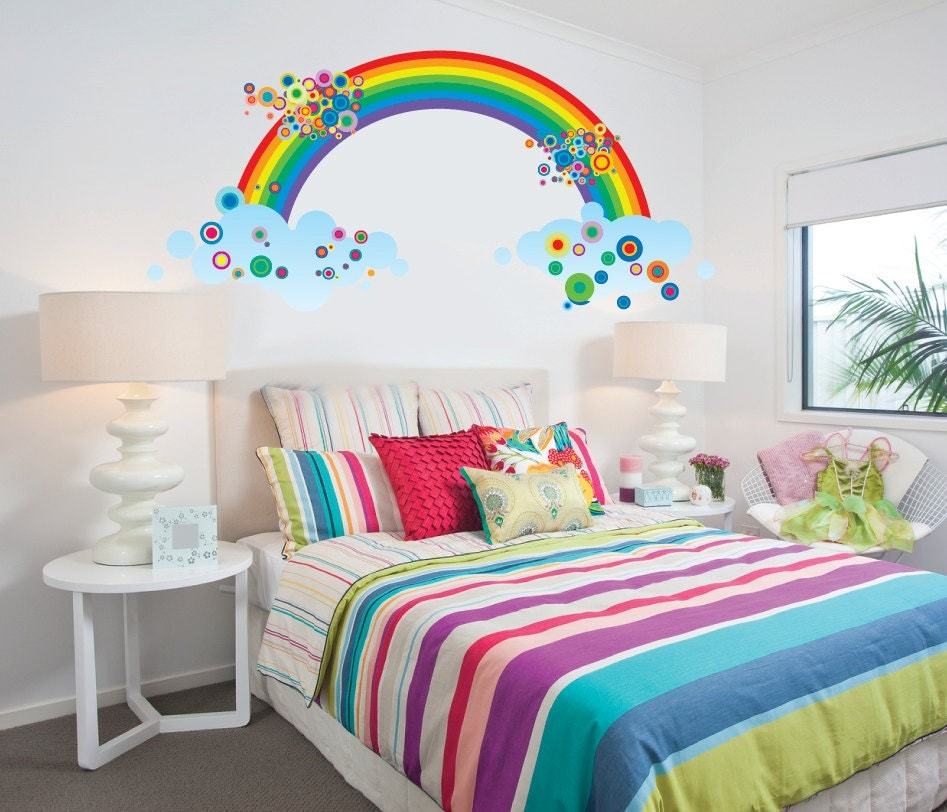 Rainbow Fabric Wall Decal Reusable Large