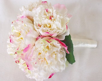 Wedding Natural Touch Blush Peony Silk Flower Bride Bouquet - Almost Fresh