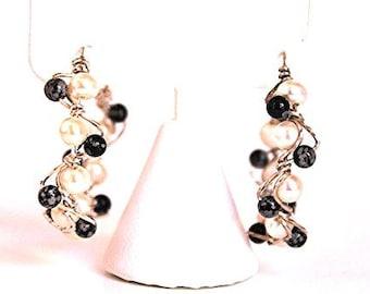 Pearl Woven Hoop Earrings