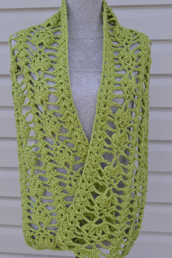 Green Open Weave Lacy Crochet Spring Scarf by MamaLlamaCrafts