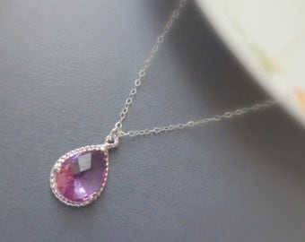 Lavender Teardrop Necklace in STERLING SILVER CHAIN--Purple Necklace--Perfect Gift for mom, gift for friends,Birthday Present for her.